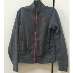 Under Armour gray and pink zip fleece